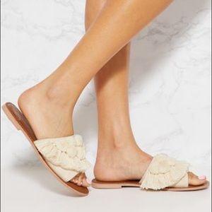 Pretty Little Thing Cream Pom Pom Sandals